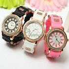 Fashion Women Girl Casual Crystal Jelly Silicone Analog Clock Quartz Wrist Watch