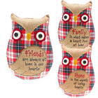 OWL CUSHION VINTAGE FAMILY FRIEND HOME EMBROIDERED COSY RETRO GIFT HANDMADE NEW