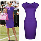 Women Vintage OL Bodycon Cap Sleeve Pencil Dresses Wine Party Wiggle Shift Dress