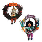 NEW HANGING HALLOWEEN WELCOME WREATH DECORATIONS - 2 SIZES - SKELETON / WITCH