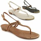 New Ladies Toe Post Snake Effect Ankle Strappy Summer Slingback Sandals Size 3-8