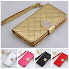 leather Bling Shining Crystal Flip Wallet case cover for Samsung Galaxy S5 I9600