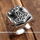 1x Mens Stainless Steel Norse Thunder God Viking Thor's Hammer Finger Rings Gift