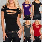 DA14 Womens Clubwear NightClub Low Cut T-shirt Girls Sexy Ripped Tunic Shirt Top