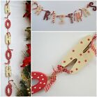 shabby chic Christmas Wooden Garland Red Cream Vintage Country Style Decoration