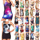 Women Graphic Printing Bodycon Sleeveless One-Piece Vest Cocktail Dress Jumper