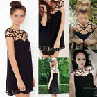 Sexy Design Trendy Lady Women Black Chiffon Hollow Cut Out Shift Mini Dress