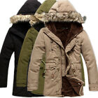 Mens Parka Cotton Hoodie Coat Faux Fur Collar Winter Warm Fleece outwear Jackets