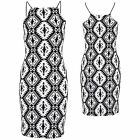 Ladies Monochrome Aztec Print Black Velvet Sexy Short Bodycon Women's Dress 8-14