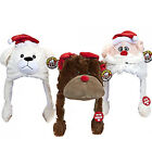 CHRISTMAS XMAS SOFT CUDDLY PLUSH TOY KIDS ANIMAL HAT FUN WINTER MOVING EARS WARM