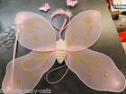 GIRLS FANCY DRESS BUTTERFLY ANGEL WINGS COSTUME HEADBAND & WAND SET BLUE OR PINK