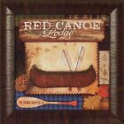 """RED CANOE LODGE"" by Mollie B. 15x15 FRAMED ART PRINT Sign Oars Boat Cabin"