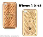 iPhone 4 4S Cover ~HAIR TOOLED LEATHER~ Protective Case Hardback Western Cowboy