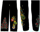 Plus Size Capri Length Leggings Embellished Xmas Tree W/Red Bows & Ornaments