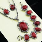 New Top Red Turquoise Stone Earrings Bracelet Necklace Women Vintage Jewelry Set