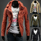 Korean Men Slim Fit Double Stand Collar Coat Military Casual Outwear Jacket XS~L