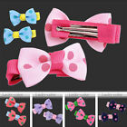 2pcs Sweet Dot Bow Bowknot Children Hair Clip Bands Girls Styling Hairpin Cute