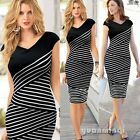 Vogue Women Striped Print Evening Formal Party Bandage Office Bodycon Midi Dress