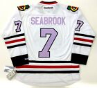 BRENT SEABROOK CHICAGO BLACKHAWKS LAVENDER CANCER REEBOK PREMIER JERSEY