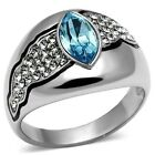 Ladies New Stainless Steel Aqua Blue Marquise Crystal Dome Band Ring Size 5-10
