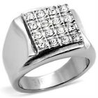New Stainless Steel Square Men's Crystal Ring - Size 8-13