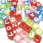 50 x 7mm Assorted colours Individual Alphabet Cube Beads - Variety of Alphabet