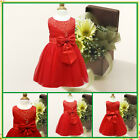 Reds Baby Christening Wedding Party Flower Girls Dresses AGE SZ 0 3 6 9 12 18Mth