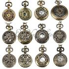 Retro Men Lady Bronze Antique Hollow Quartz Pocket Watch Pendant Necklace Chain