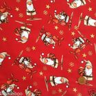 RED cute santa  Christmas fabric 100 % cotton per fat quarter/half metre craft