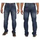 NEW MENS ENZO EZ260 DARK WASH STRAIGHT FIT TRENDY CHEAP JEANS  SIZES 28 - 48