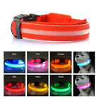Pets DOG LED Lights Flash Night Safety Nylon Collar Adjustable LED Collar S-XL