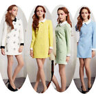 Sweet Women Vintage Pin Up Long Sleeve Cocktail Evening Prom Dress Plus Size HOT