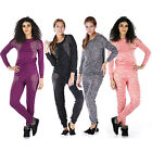 AJ57Ladies Diamante Studded Sweatshirt Womens Jogging Bottom Pants Tracksuit Set