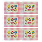 CUPCAKE TABLEMATS - PACK OF SIX TABLE PLACEMATS - CORKED BASED RECTANGULAR MATS