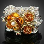 18k white gold Plated Ladies Triple Golden Flower Pearl Crystal Cocktail Ring