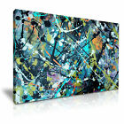 MODERN ABSTRACT ART Purple Teal Splash Canvas Framed Print ~ More Size