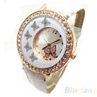 Womens Striking New Butterfly Pattern Crystal PU Leather Band Quartz Wrist Watch