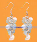 Genuine White Rice Pearl & Gem Gravel Dangle Earrings