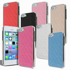 Luxury Leather Chrome Back Case Cover for Apple iPhone 5 & 5S Screen Protector
