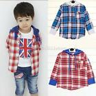 Baby Kids Boys Plaid Jacket Hooded Long Sleeve Cotton Coat Shirts Tops 1-5Y A75