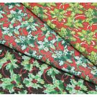 Christmas Holly Ribbons Polycotton Fabric