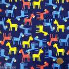 per metre/FQ BLUE ponies horses polycotton childrens fabric dressmaking/craft