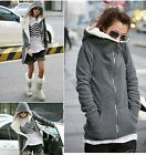 Winter Women Long Sleeve Zip Up Top Warm Outerwear Sweatshirt Hoodie Coat Jacket