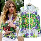 Women Floral Plaid OL Printed Blouse Casual Long Sleeve Button Down T shirt Tops