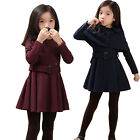 Girls Kids Wind Jacket Autumn Dress 3-8Y Belt Shawl 2Pcs Outfits Clothes Outwear