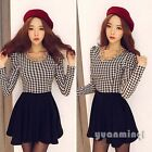 Winter Autumn Women Casual Houndstooth Print Patchwork Evening Party Mini Dress
