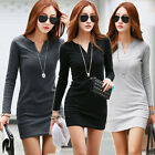 Korean Women V Neck Mini Dress Long Sleeve Cotton Casual Ladies Long Top T-shirt