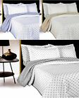 DARCY POLKA DOT LUXURY BEDSPREAD EMBROIDERED BED THROW SINGLE DOUBLE KING SHAMS