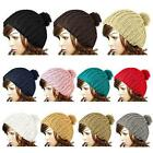 Wool Knit Knitted Vintage Winter Warm Crochet Beanie Cap Pom Pom Ski Bobble Hat