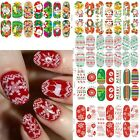 Luminous Glow Full WRAPS Christmas Love Santa Nail Art Stickers Tips DIY Decals